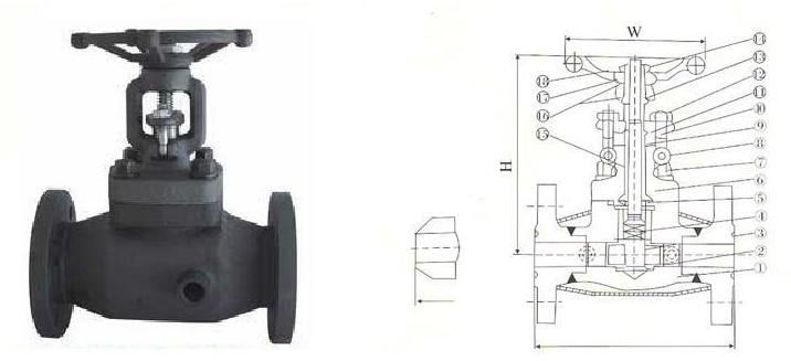 锻钢法兰端保温截止阀结构图纸