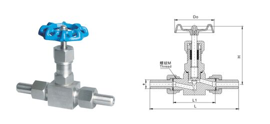 J23W,J21W外螺纹针型阀结构图