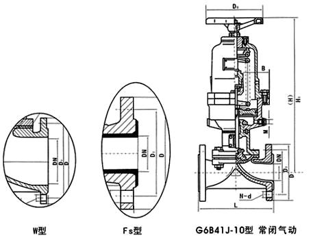 G6B41J<strong><strong>气动隔膜阀</strong></strong>结构图