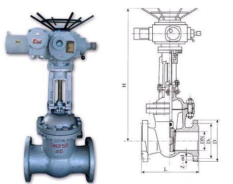 Z940H、Z941H电动闸阀结构图纸
