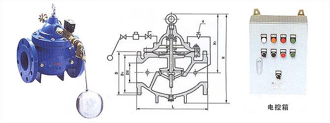 101x液位电动控制阀安装在水池或水塔液位上限处图片