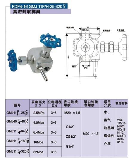 GMJ11H高密封取样阀结构图
